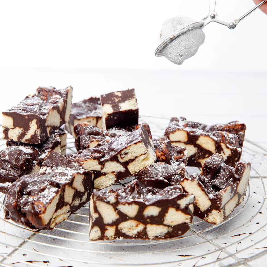 Dusting the Chocolate Crunch Slice