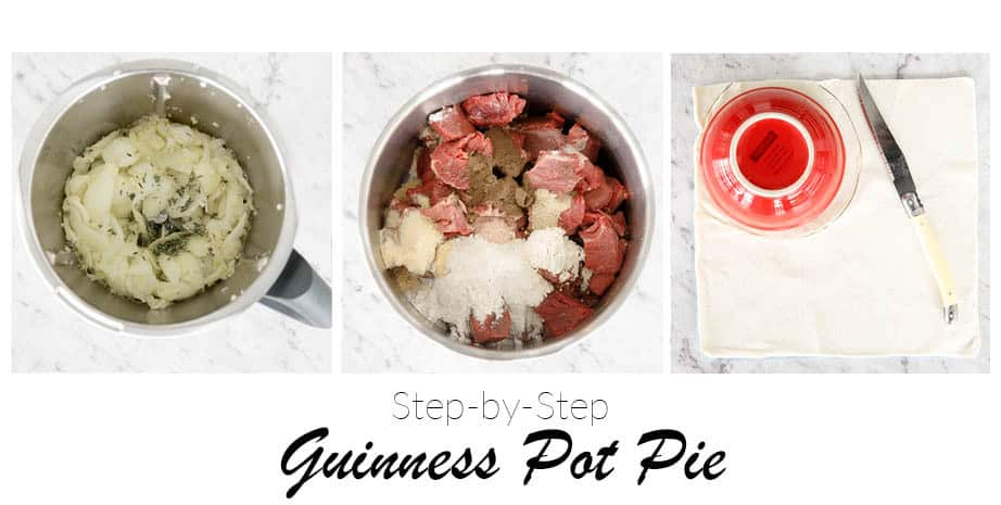 Three process steps for making Guinness pie. Thermomix bowl is pictured with onions and beef.