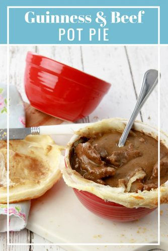 Captioned picture of Guinness Pie with a spoon in the middle.