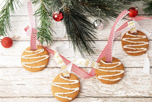 Gingerbread Cookie Ornaments on Ribbon