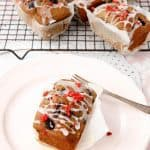 Mixed Berry Banana Muffins w Rosewater Glaze and Strawberry Crumb