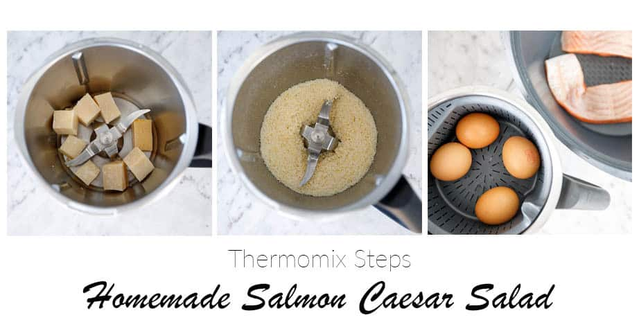 3 image collage showing the steps for making a Caesar Salad in the Thermomix