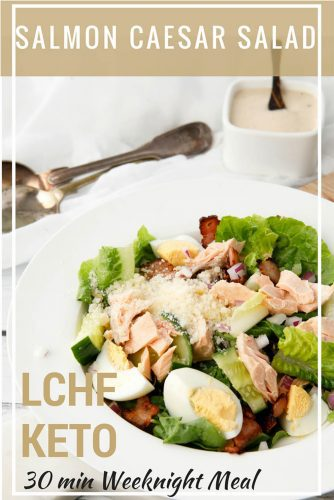 Salmon Caesar Salad - 30min Decadent Weeknight Meal - You will never order Caesar Salad at a cafe after making this super delicious, Salmon Caesar Salad. The flavours work perfectly for a healthy LCHF Keto meal. #Thermomix #caesarsalad #salmon