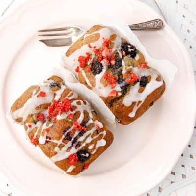 Rosewater Glazed Berry Banana Muffins