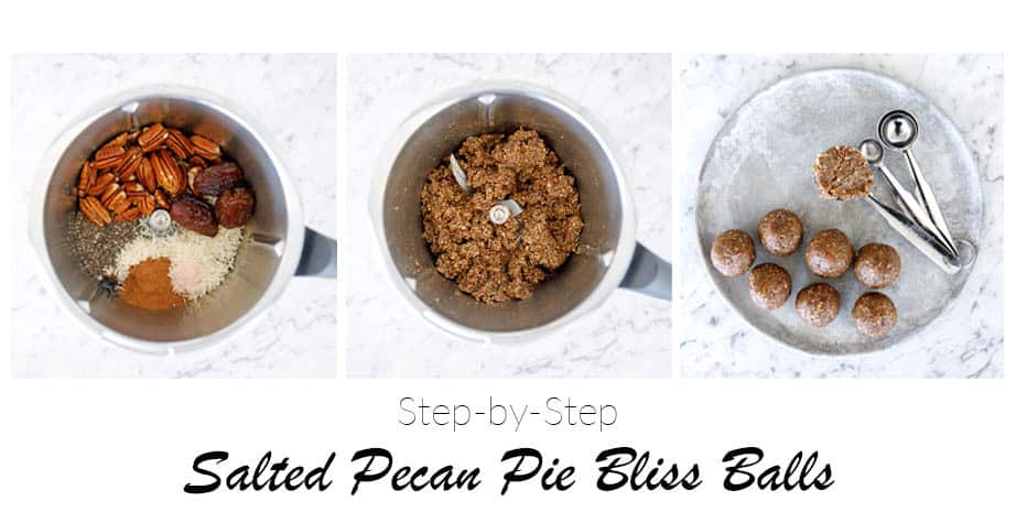 Overhead shot of the 3 step process for making Thermomix Salted Pecan Pie Bliss Balls