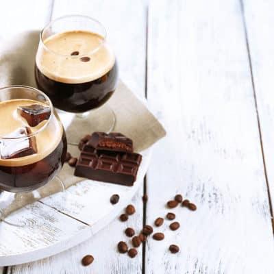 Thermomix Espresso martini on a white wood background