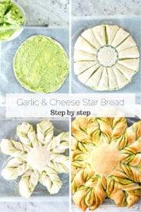 Four overhead process shots for making garlic star bread