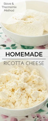 Two images of homemade ricotta in a floral bowl