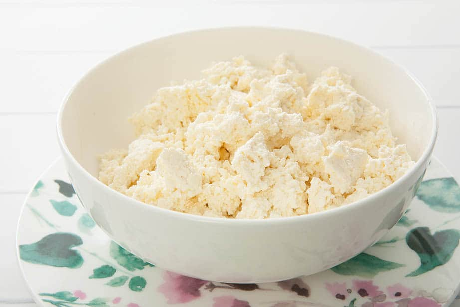 Close up of fresh homemade ricotta in a white bowl on flora background