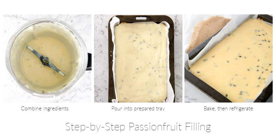 3 pictures showing the steps involved in making a passionfruit slice filling