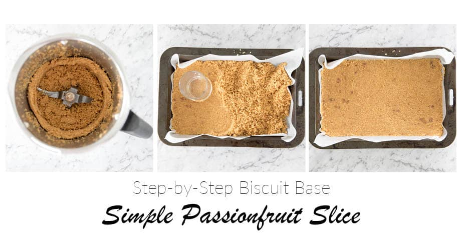 3 images in Step by Step process to making a Biscuit base
