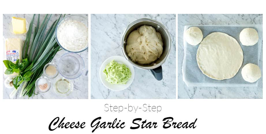 3 images making Garlic and cheese star bread