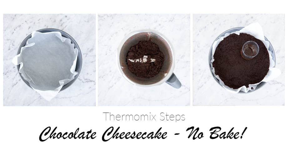 Image showing 3 steps to making a chocolate biscuit crumb