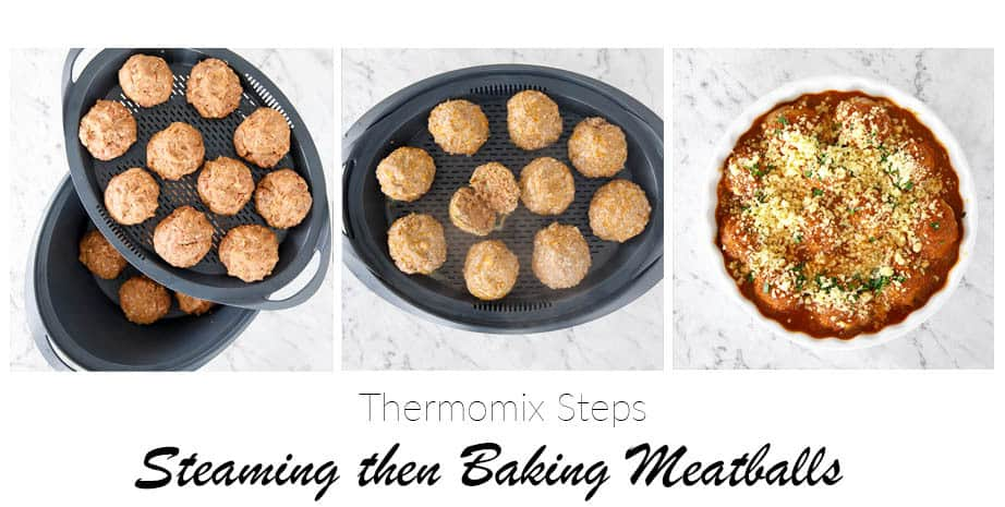 3 Images which show the size and position of meatballs in the Varoma TM5