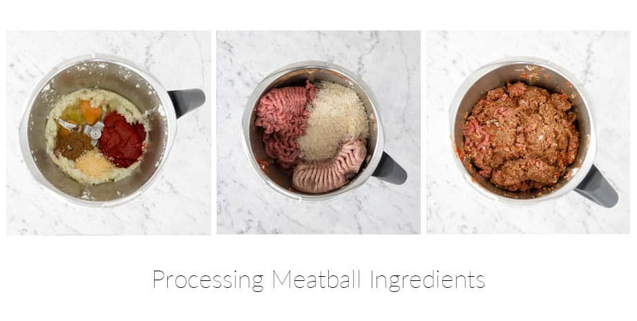 Three images showing steps to making meatballs