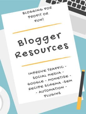 Graphic for blogger resources with a handwritten note on a table