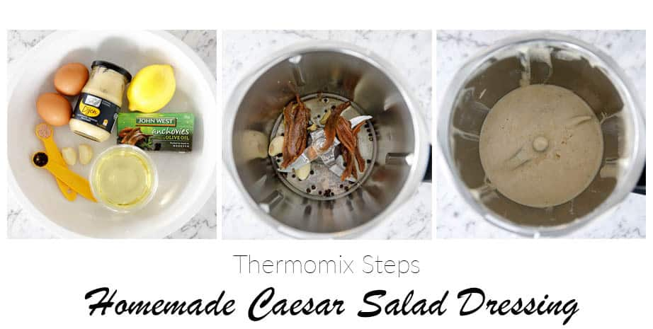 Overhead pic of 3 steps to making Homemade Caesar Salad Dressing
