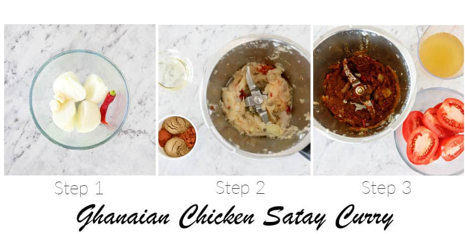 3 Process shot showing the step to making Ghanaian Chicken Satay Curry