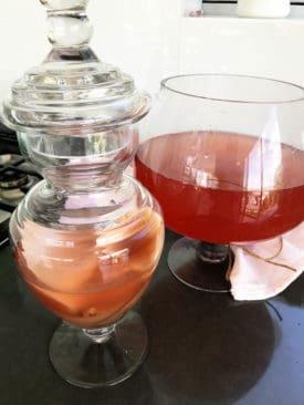 Rosehip Kombucha Tea in Glass brewing vessel on black bench