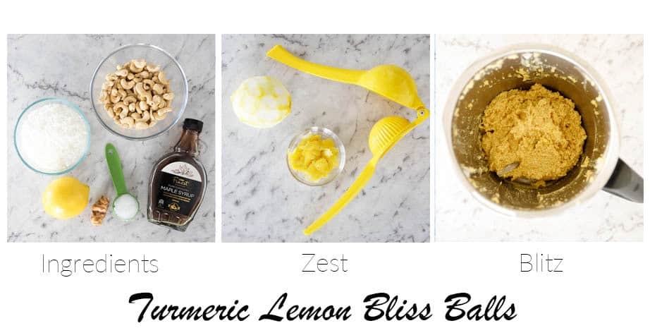 Image showing 3 step process of making lemon bliss balls