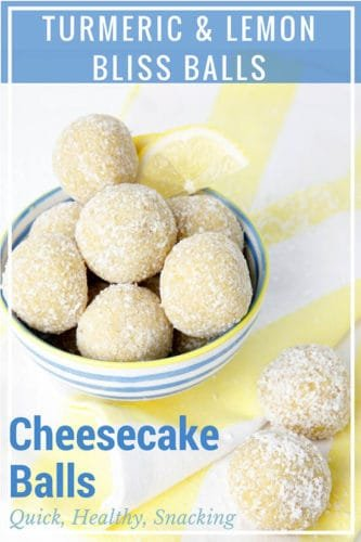 Image for pinterest of lemon bliss balls in a bowl with the recipe title