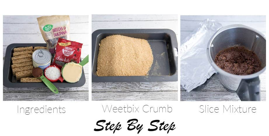 # pictures showing the first 3 steps to make weetbix Slice