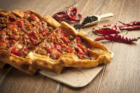 Close up Beef Turkish Pide on wooden board