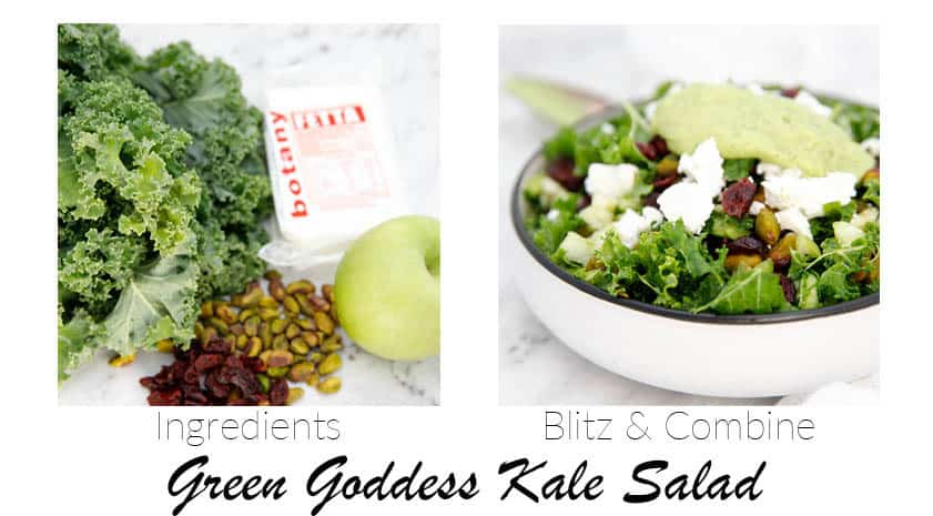 two images showing ingredients for kale salad and finished salad shot