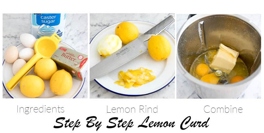 Image of the three stages of making lemon curd Thermomix