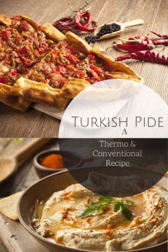 Image of Turkish Beef pide on wooden board with Baba Ganoush