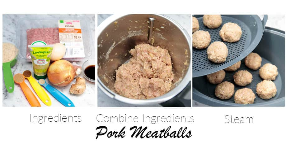 3 images showing the steps to making pork meatballs