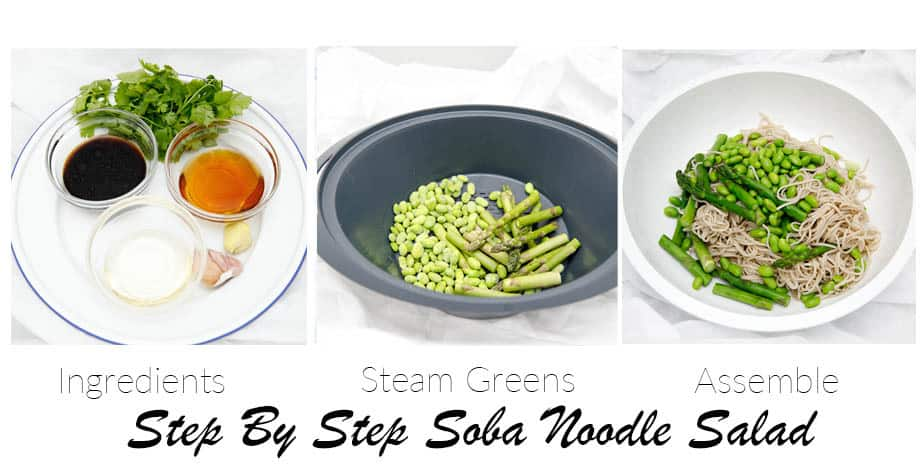 Three images showing the steps to make soba noodle salad