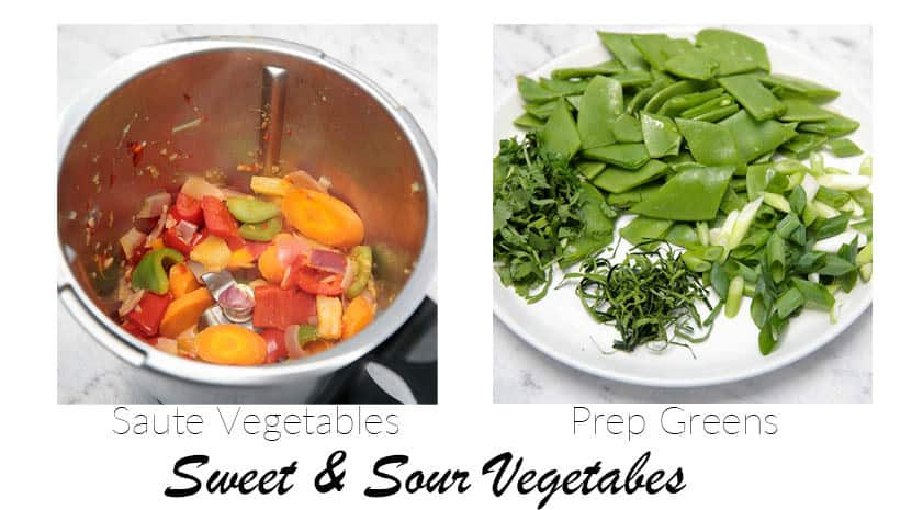 2 images that show the vegetables in stir fry