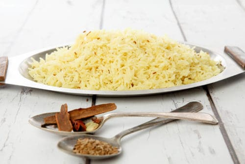Saffron Butter Rice from an Indian ThermoKitchen Cookbook