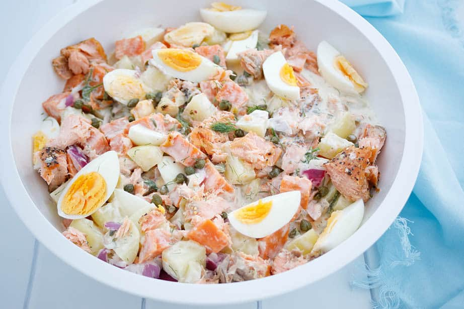 A large white bowl with Thermomix salmon potato salad