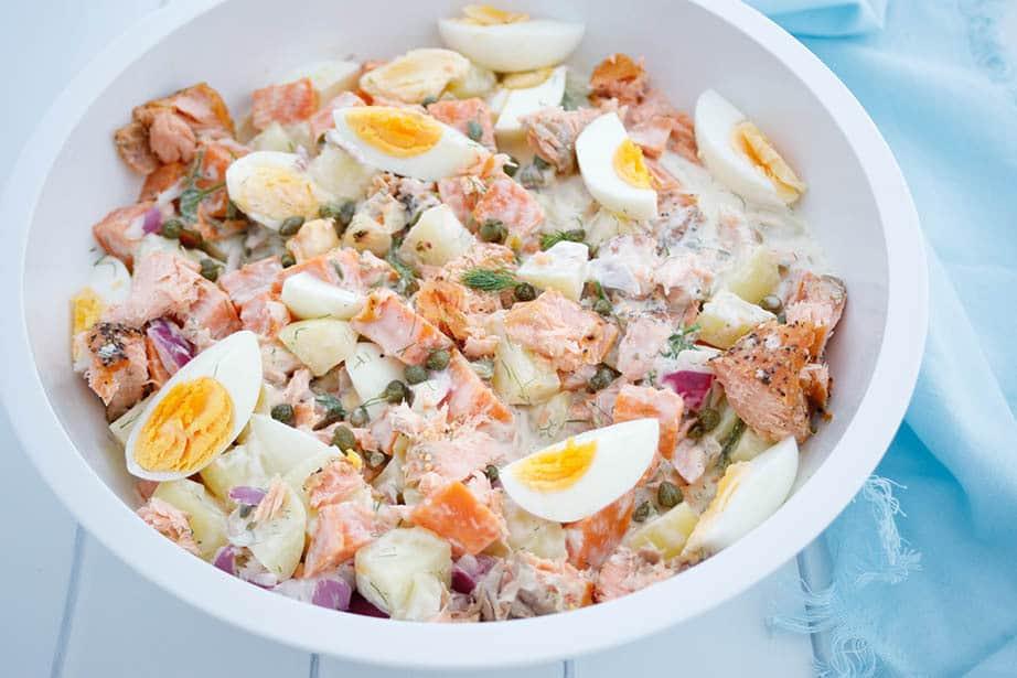 A large white bowl with Thermomix salmon potato salad