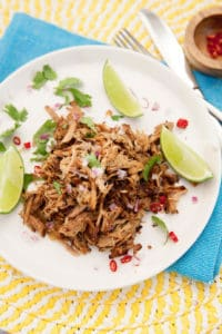 Portrait image on a plate of pulled pork with lemon and chilli blue and yellow napkins