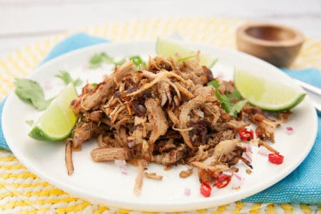Pulled Pork carnitas on a white plate and blue and yellow background
