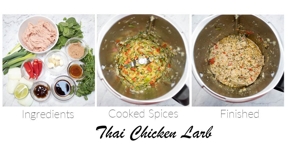 3 step pictorial how to make chicken larb