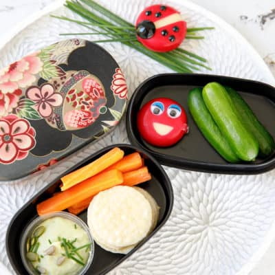 Bento Box with Le Snak dip, cucumber and carrot sticks
