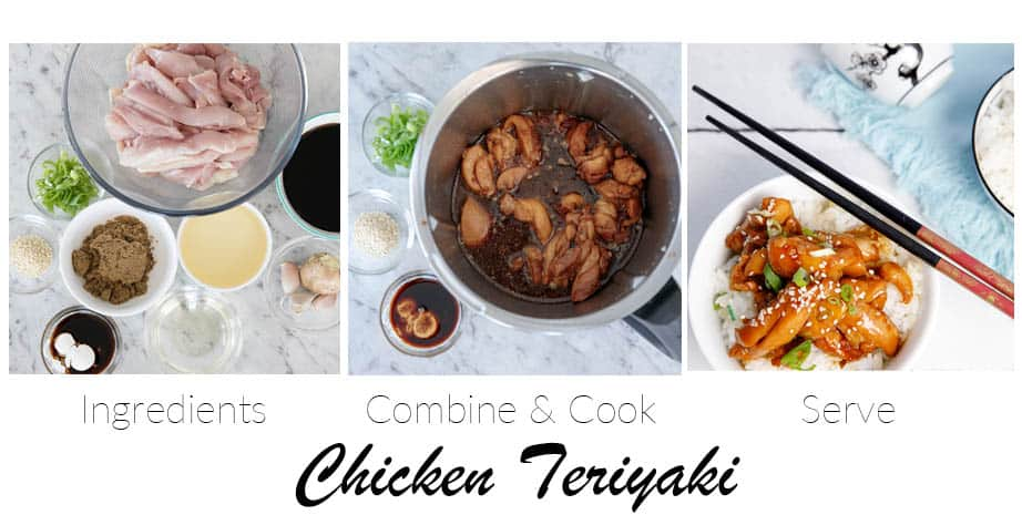 3 Step by Step images showing Chicken Teriyaki being made