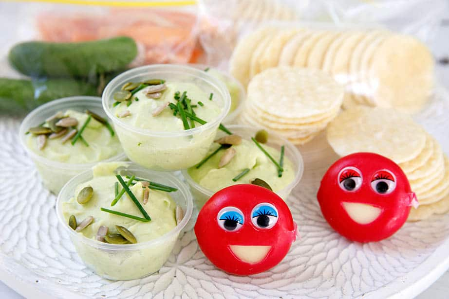 Babybel smiley Cheese on a plate with other lunchbox ideas