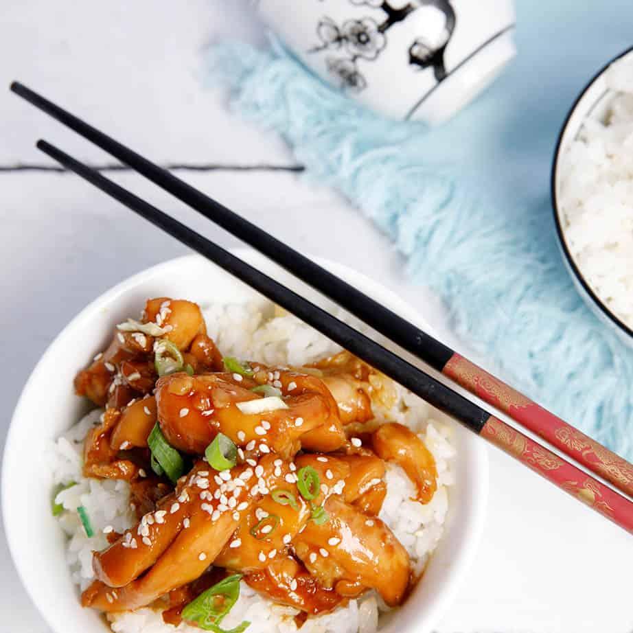 Overhead square image Japanese Chicken Teriyaki