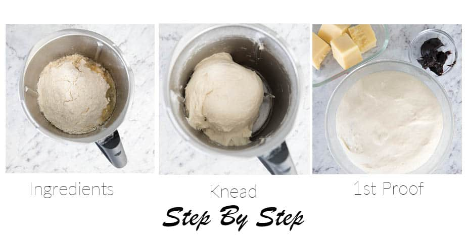 Step by step images showing making dough for cheesymite scrolls