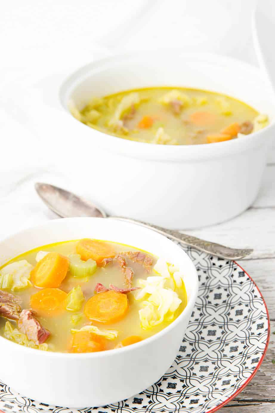 Corned beef and cabbage soup is a typical old-fashioned dish my nan used to make in winter. Although the recipe has been modernised for the Thermomix I have given instructions for the stovetop too. still brings happy food memories. #CornedBeefSoup #CornedBeef #Keto #Thermomix