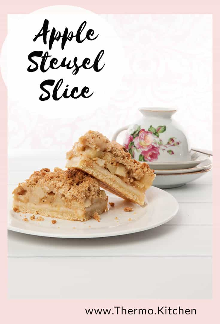 Pin for an apple streusel slice on a pink and white background