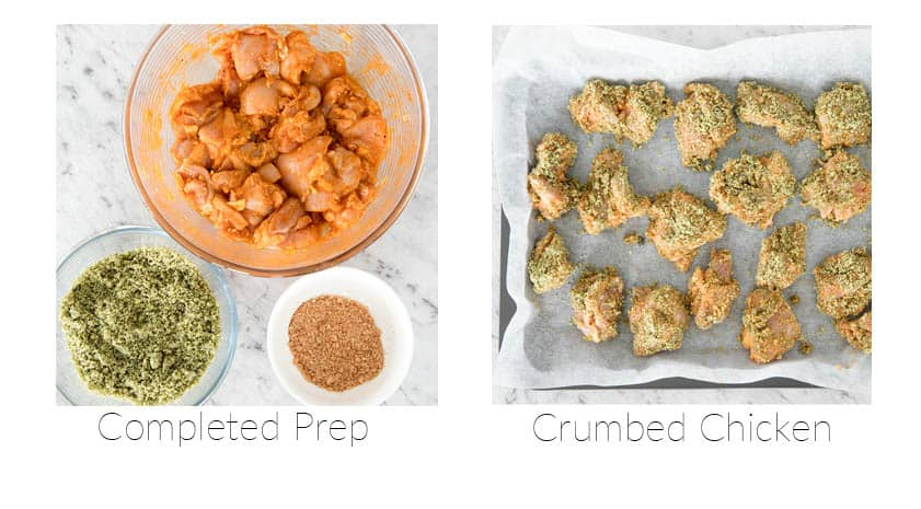 Step 3 and 4 Making Keto Popcorn Chicken