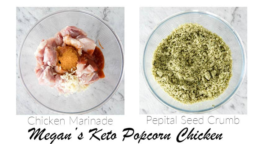 First 2 steps for making the Popcorn chicken in pictures