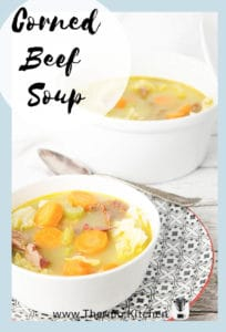 Pinterest image with label, bowl of Corned Meat Soup