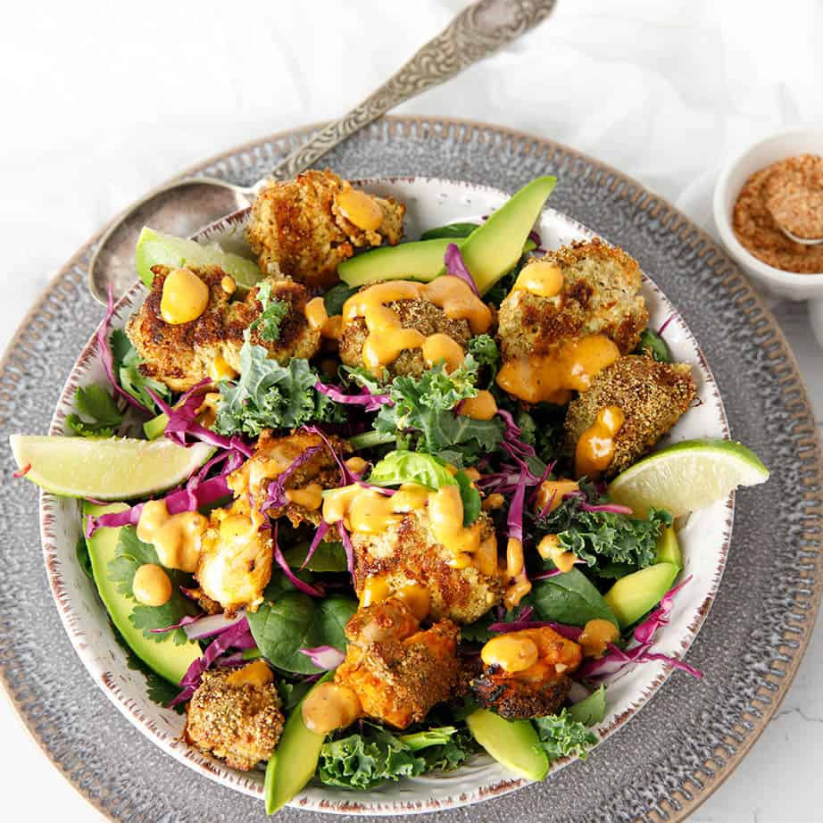Square image of Spicy Popcorn Chicken from Keto Lunchtime Cookbook by Megan Ellam
